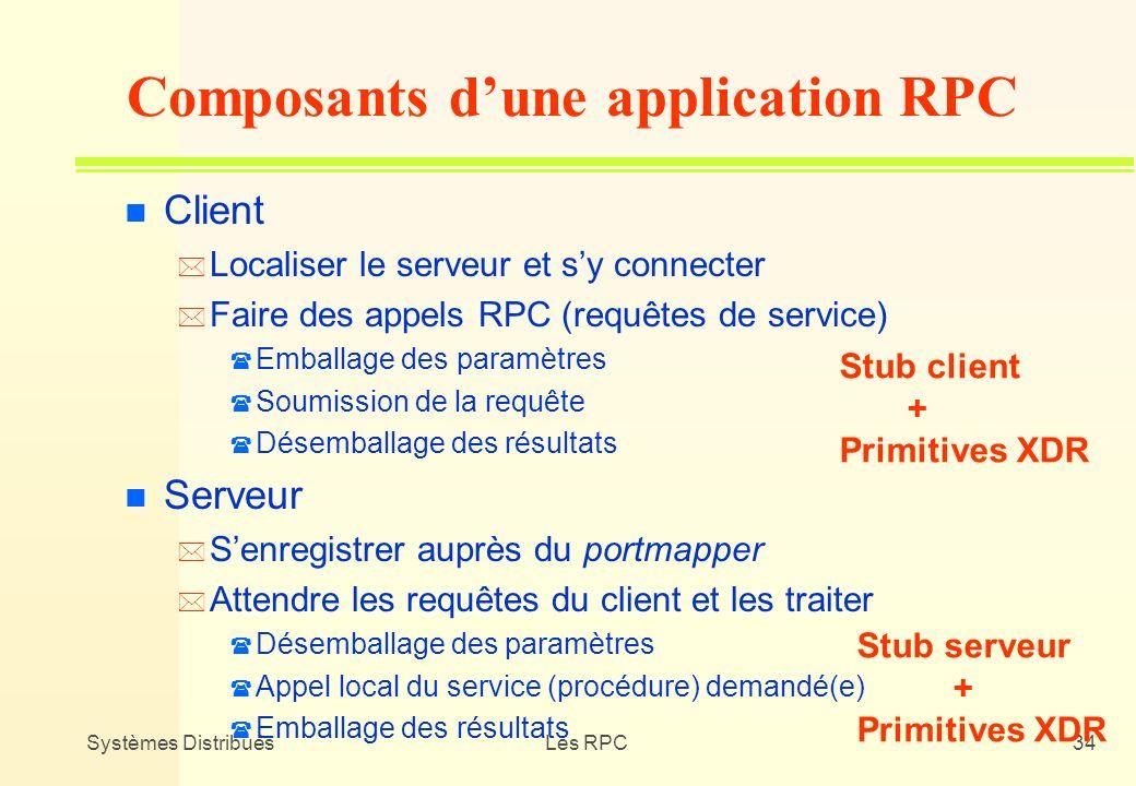 Systèmes DistribuésLes RPC34 n Client * Localiser le serveur et sy connecter * Faire des appels RPC (requêtes de service) ( Emballage des paramètres (