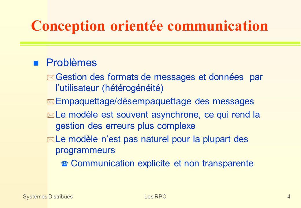 Systèmes DistribuésLes RPC4 n Problèmes * Gestion des formats de messages et données par lutilisateur (hétérogénéité) * Empaquettage/désempaquettage d