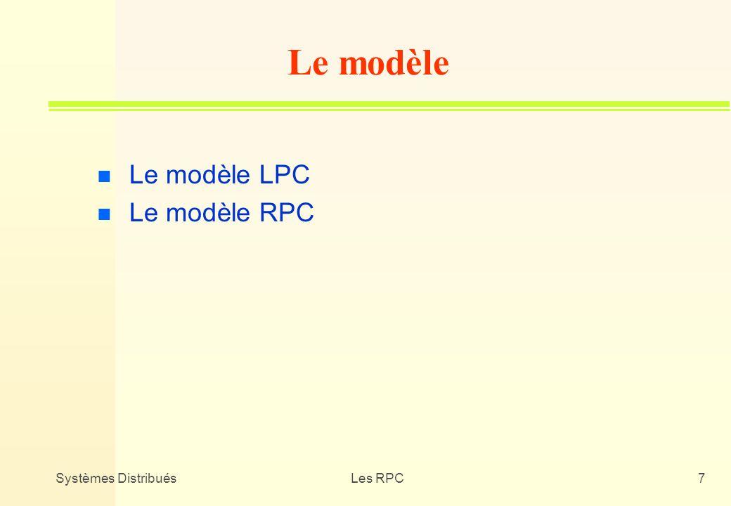 Systèmes DistribuésLes RPC7 n Le modèle LPC n Le modèle RPC Le modèle