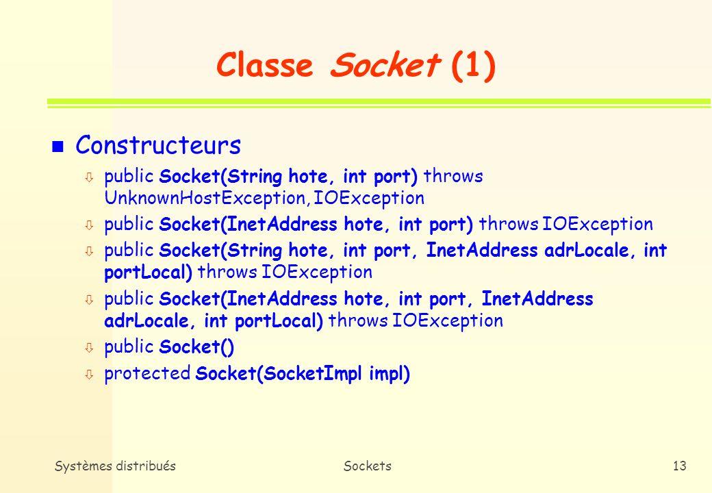 Systèmes distribuésSockets12 Sockets TCP n Classe Socket ò Connexion à une machine distante ò Envoi/Réception de données ò Fermeture dune connexion n Classe Server Socket ò Attachement à un port ò Acceptation dune demande de connexion à un port local ò Attente de demandes de connexion
