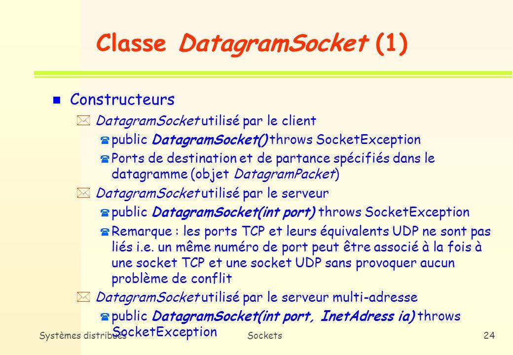 Systèmes distribuésSockets23 Classe DatagramPacket (2) n Information (suite) * public byte[] getData() ( Tableau doctets du datagramme ( Caractères ASCII : String s=new String(dp.getData(), 0, 0, dp.getLength()); ( Caractères non ASCII : ByteArrayInputStream b=new ByteArrayInputStream(dp.getData(), 0, 0, dp.getLength()); * public InetAddress getLength() ( Taille en octets du datagramme