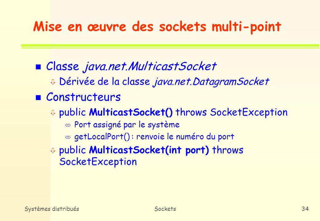 Systèmes distribuésSockets33 Time-To-Live (TTL) n Définition ò Portée dun datagramme i.e.