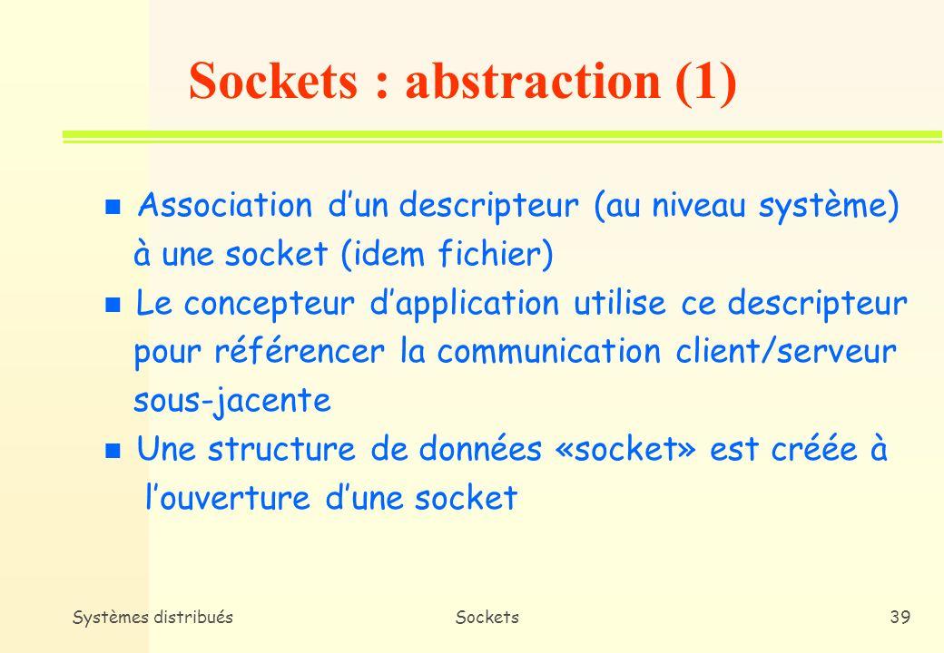 Systèmes distribuésSockets38 Sockets en C/UNIX