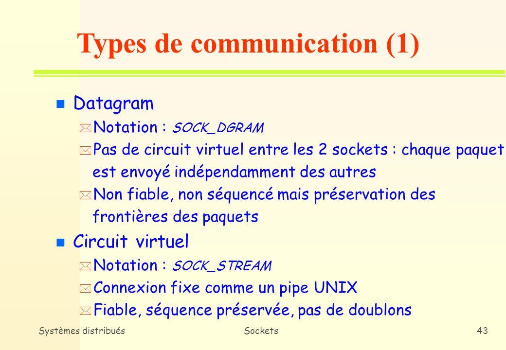 Systèmes distribuésSockets42 n Domaine UNIX * Notation : PF_UNIX * Communication intra-machine (mémoire centrale) * Pas de passage par le réseau n Domaine Internet * Notation : PF_INET * Communication intra-machine et réseau Domaine de communication
