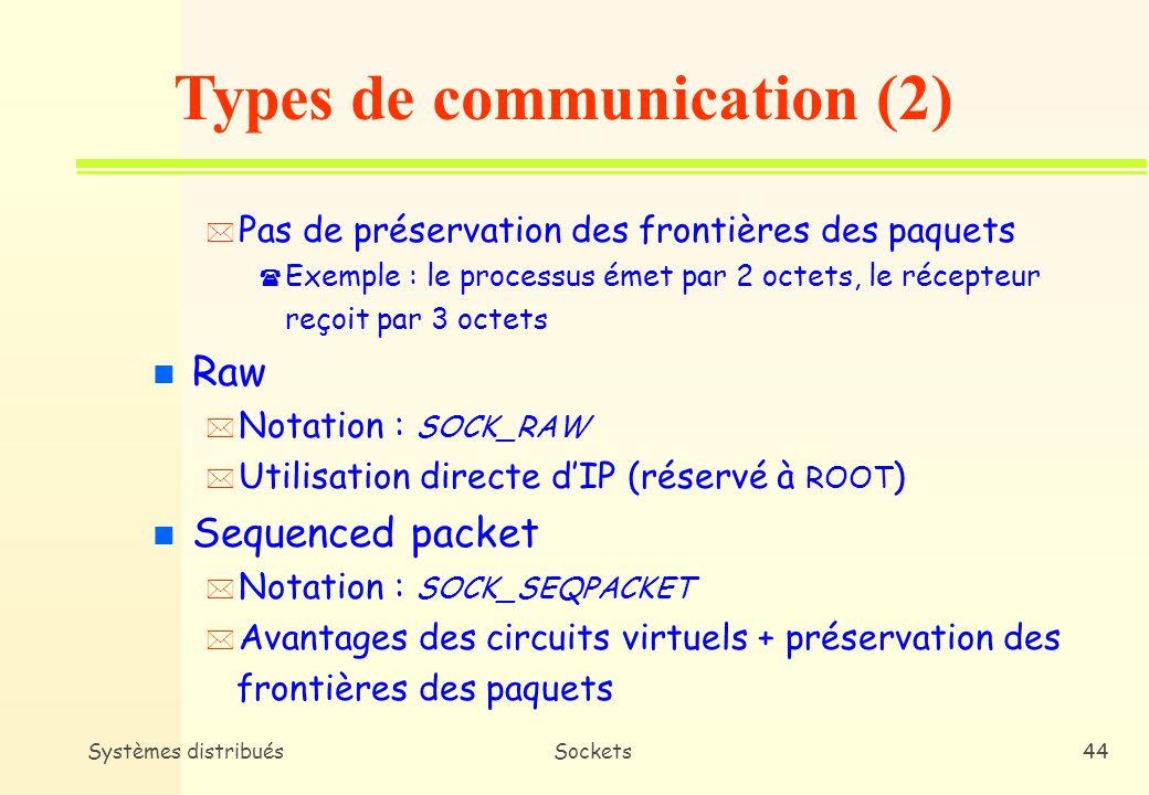 Systèmes distribuésSockets43 n Datagram * Notation : SOCK_DGRAM * Pas de circuit virtuel entre les 2 sockets : chaque paquet est envoyé indépendamment des autres * Non fiable, non séquencé mais préservation des frontières des paquets n Circuit virtuel * Notation : SOCK_STREAM * Connexion fixe comme un pipe UNIX * Fiable, séquence préservée, pas de doublons Types de communication (1)