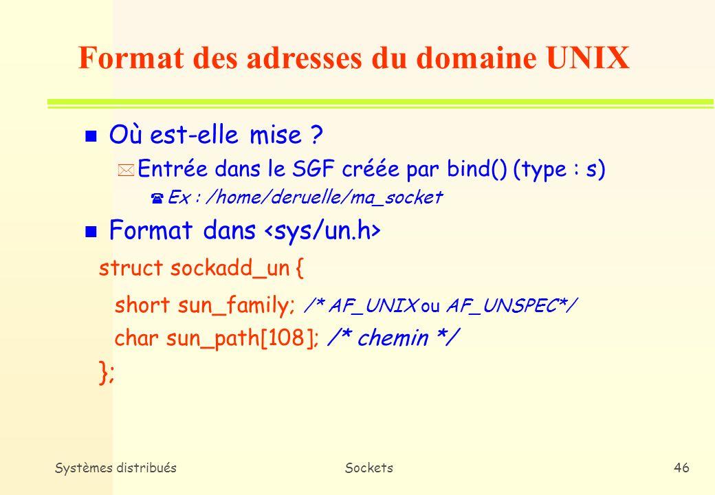 Systèmes distribuésSockets45 n Intérêt * Un point de transport (ex : socket) nest accessible de lextérieur que si on lui a associé une adresse ( Explicitement (primitive bind()) ( Implicitement (dans Internet, connect(), send(), etc.) n Format général struct sockaddr { short sa_family; /* famille dadresses (AF_INET, AF_UNIX,etc) */ char sa_data[14]; /* adresse effective */ }; Adressage des sockets