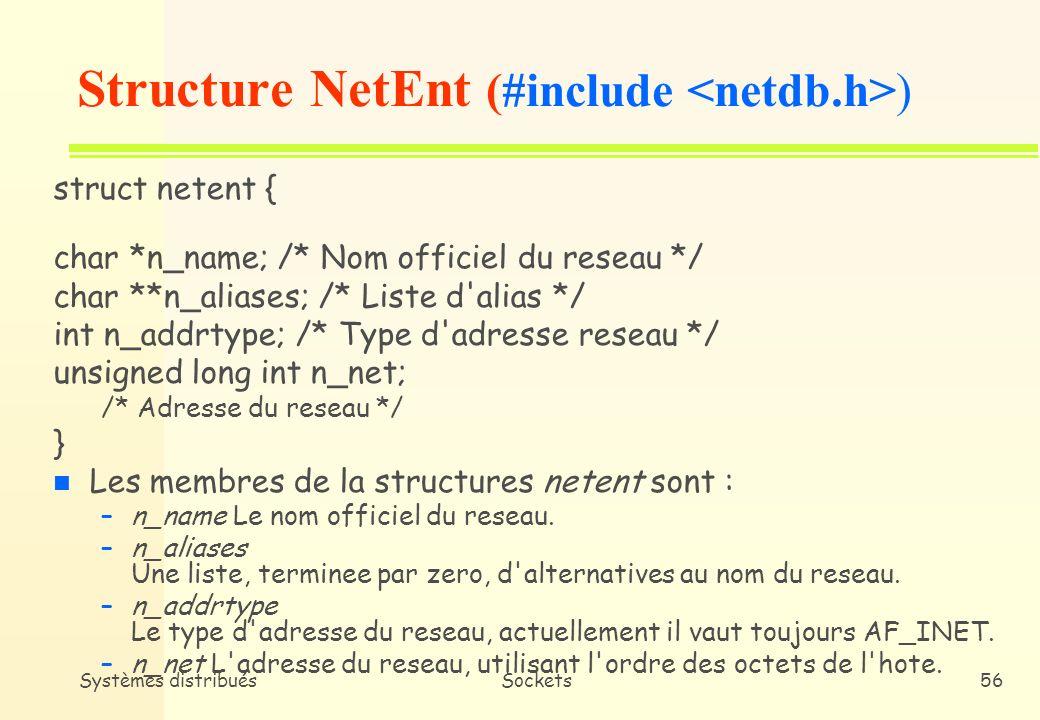 Systèmes distribuésSockets55 n getnetbyname spécifie un nom de réseau et retourne une structure netent contenant les caractéristiques du réseau (/etc/networks) n getnetbyaddr spécifie une adresse réseau et retourne une structure netent Primitives de service (3)