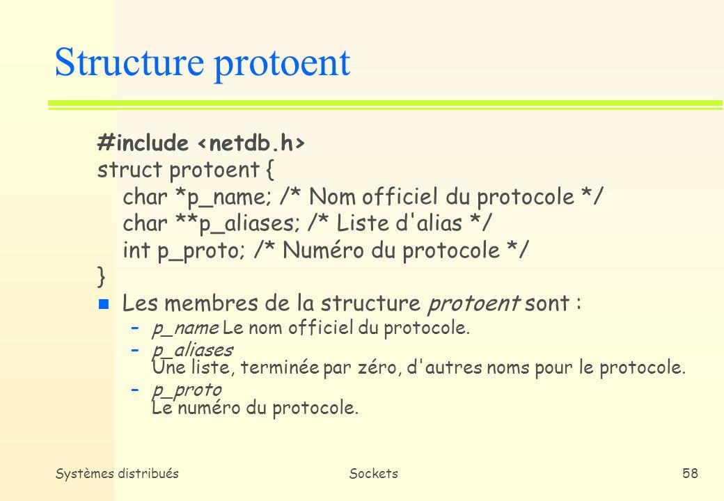 Systèmes distribuésSockets57 n getprotobyname et getprotobynumber * Dans la base de données des protocoles disponibles sur la machine, chaque protocole a un nom, des alias et un numéro de protocole officiels * getprotobyname permet dobtenir des informations sur un protocole donné en spécifiant son nom (structure protoent) * getprotobynumber permet dobtenir les mêmes informations en spécifiant le numéro de protocole Primitives de service (4)