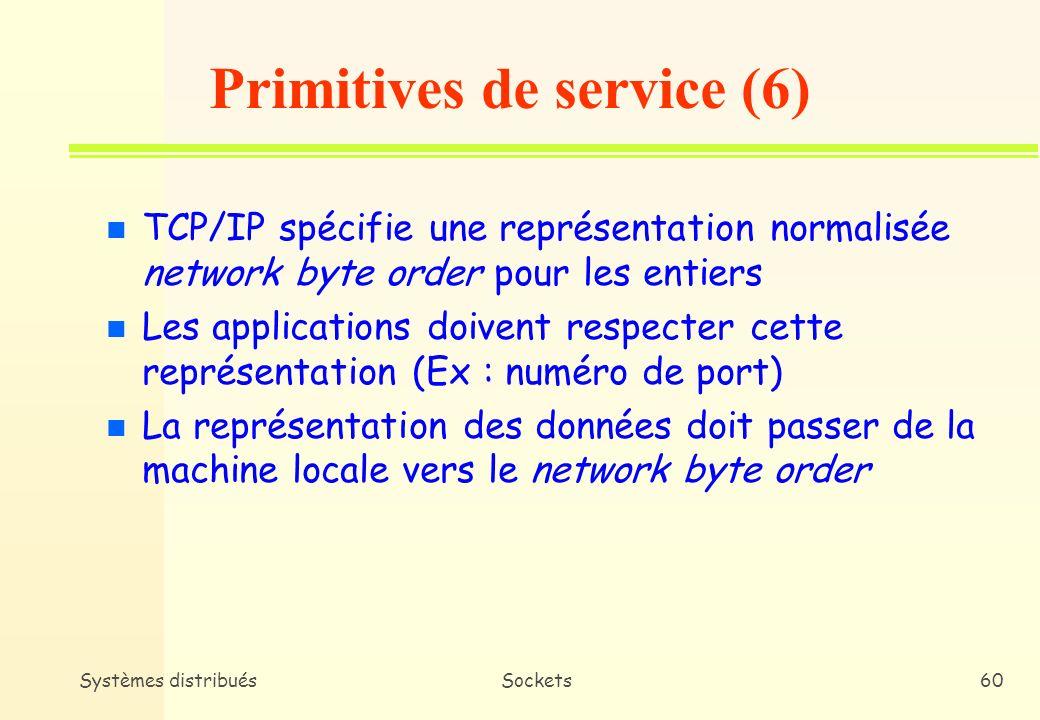 Systèmes distribuésSockets59 n getservbyname * Certains numéros de ports sont réservés pour les services sexécutant au-dessus des protocoles TCP et UDP * getservbyname retourne les informations relatives à un service donné en spécifiant le numéro de port et le protocole utilisé (structure servent) Primitives de service (5)
