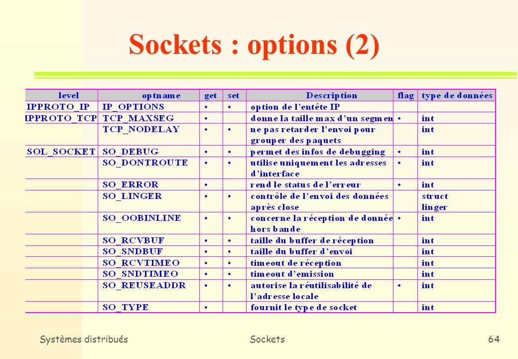 Systèmes distribuésSockets63 n Une application peut contrôler certains aspects du fonctionnement des sockets * Configuration des temporisations * Allocation de la mémoire tampon * etc.
