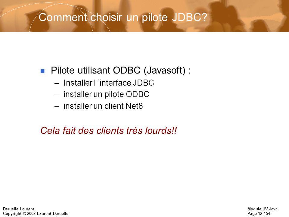 Module UV Java Page 12 / 54 Deruelle Laurent Copyright © 2002 Laurent Deruelle Comment choisir un pilote JDBC.