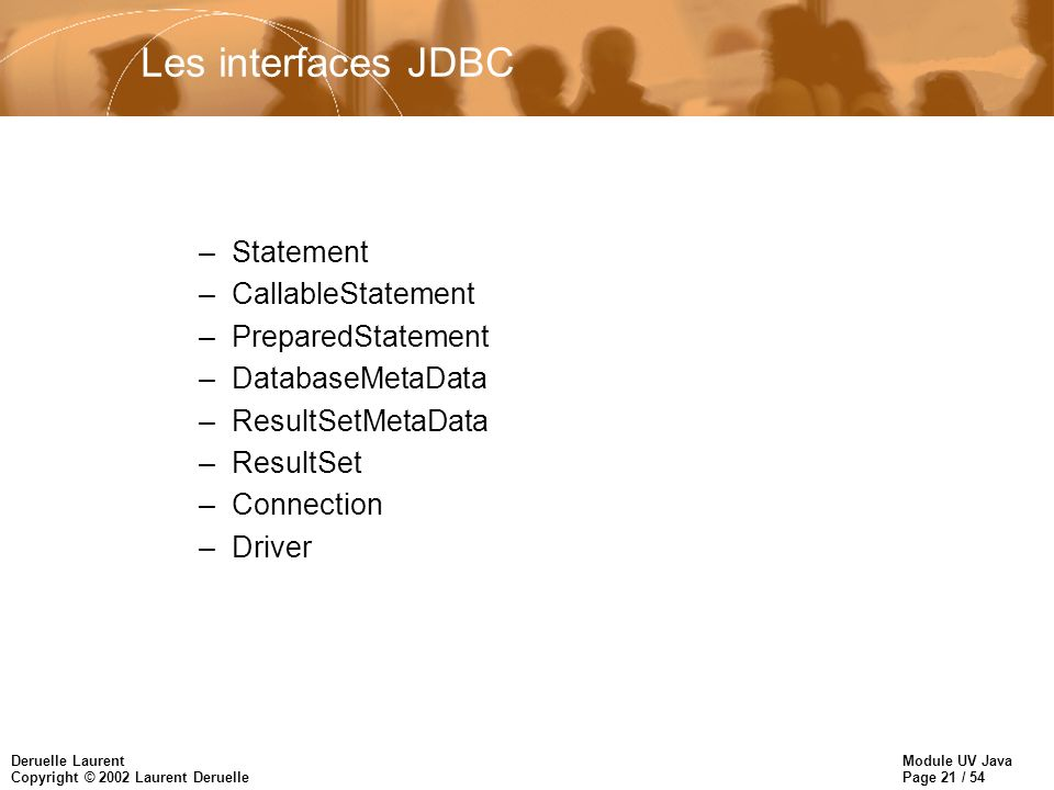 Module UV Java Page 21 / 54 Deruelle Laurent Copyright © 2002 Laurent Deruelle Les interfaces JDBC –Statement –CallableStatement –PreparedStatement –D