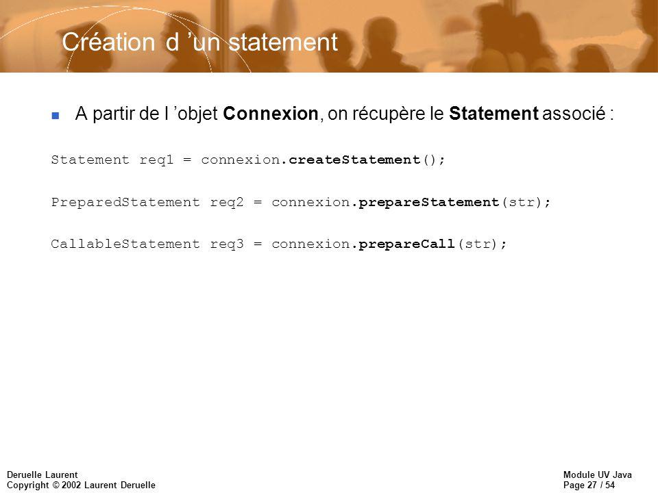 Module UV Java Page 27 / 54 Deruelle Laurent Copyright © 2002 Laurent Deruelle Création d un statement n A partir de l objet Connexion, on récupère le Statement associé : Statement req1 = connexion.createStatement(); PreparedStatement req2 = connexion.prepareStatement(str); CallableStatement req3 = connexion.prepareCall(str);