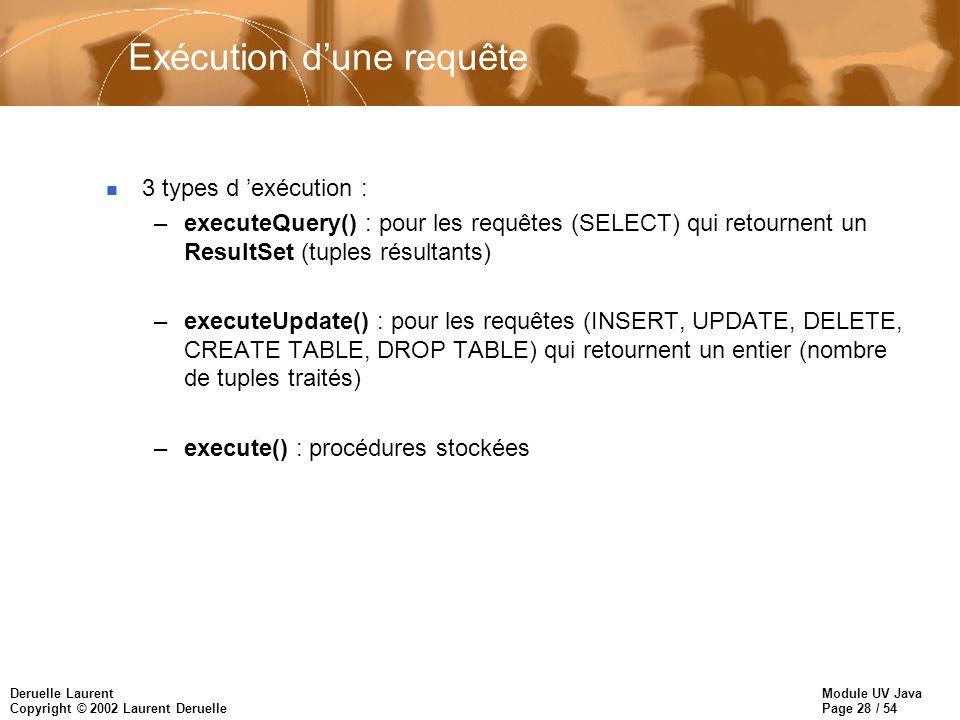 Module UV Java Page 28 / 54 Deruelle Laurent Copyright © 2002 Laurent Deruelle Exécution dune requête n 3 types d exécution : –executeQuery() : pour les requêtes (SELECT) qui retournent un ResultSet (tuples résultants) –executeUpdate() : pour les requêtes (INSERT, UPDATE, DELETE, CREATE TABLE, DROP TABLE) qui retournent un entier (nombre de tuples traités) –execute() : procédures stockées