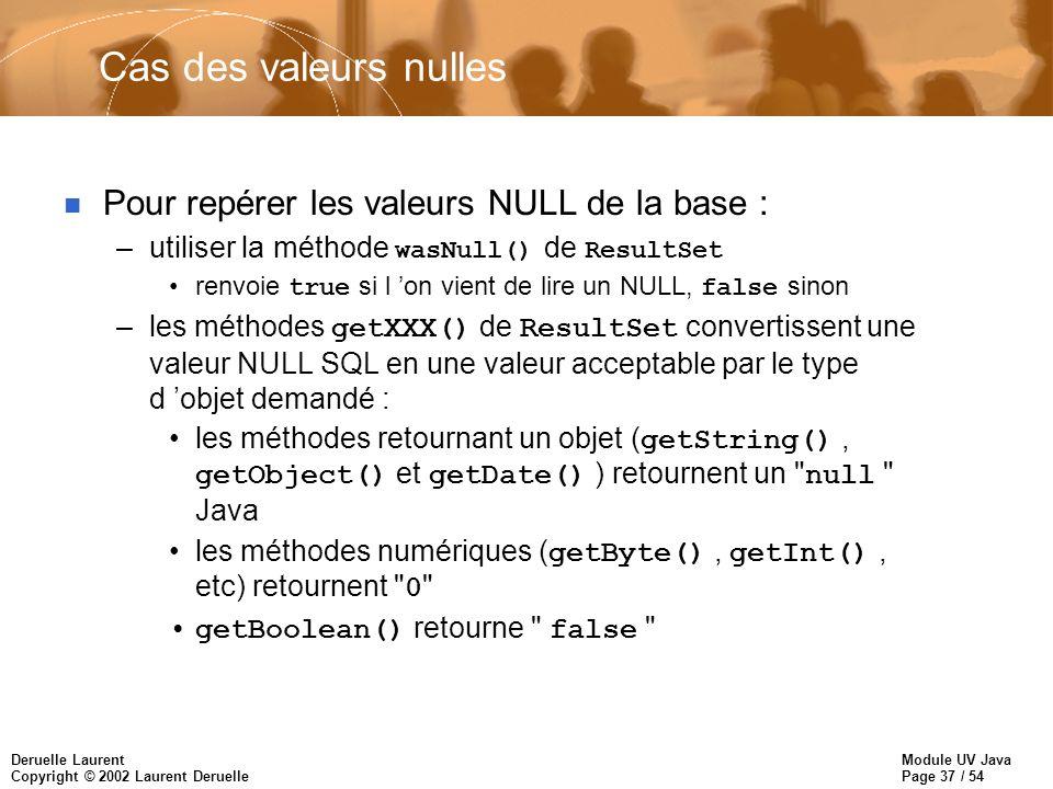 Module UV Java Page 37 / 54 Deruelle Laurent Copyright © 2002 Laurent Deruelle Cas des valeurs nulles n Pour repérer les valeurs NULL de la base : –utiliser la méthode wasNull() de ResultSet renvoie true si l on vient de lire un NULL, false sinon –les méthodes getXXX() de ResultSet convertissent une valeur NULL SQL en une valeur acceptable par le type d objet demandé : les méthodes retournant un objet ( getString(), getObject() et getDate() ) retournent un null Java les méthodes numériques ( getByte(), getInt(), etc) retournent 0 getBoolean() retourne false