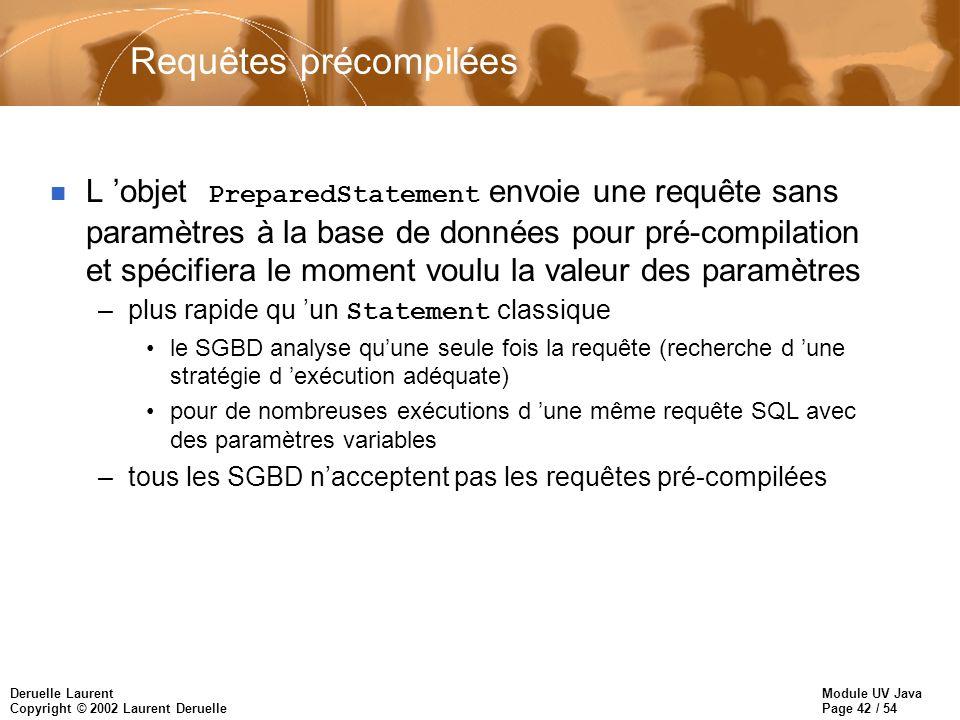 Module UV Java Page 42 / 54 Deruelle Laurent Copyright © 2002 Laurent Deruelle Requêtes précompilées L objet PreparedStatement envoie une requête sans paramètres à la base de données pour pré-compilation et spécifiera le moment voulu la valeur des paramètres –plus rapide qu un Statement classique le SGBD analyse quune seule fois la requête (recherche d une stratégie d exécution adéquate) pour de nombreuses exécutions d une même requête SQL avec des paramètres variables –tous les SGBD nacceptent pas les requêtes pré-compilées