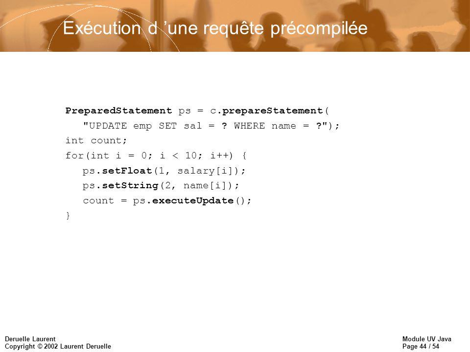 Module UV Java Page 44 / 54 Deruelle Laurent Copyright © 2002 Laurent Deruelle Exécution d une requête précompilée PreparedStatement ps = c.prepareStatement( UPDATE emp SET sal = .