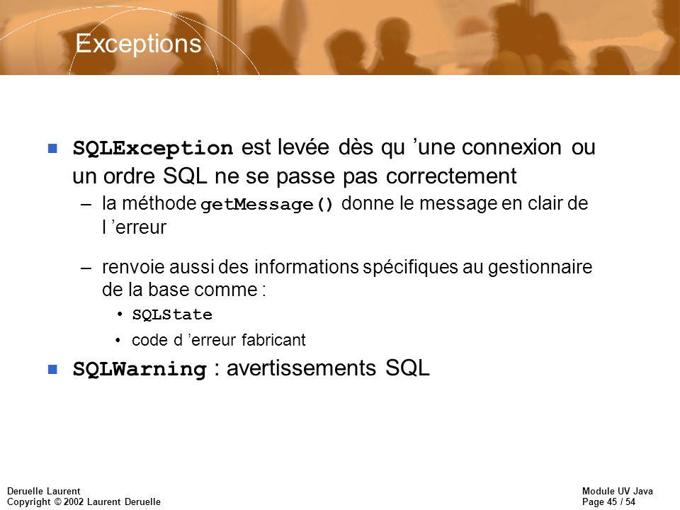 Module UV Java Page 45 / 54 Deruelle Laurent Copyright © 2002 Laurent Deruelle Exceptions SQLException est levée dès qu une connexion ou un ordre SQL ne se passe pas correctement –la méthode getMessage() donne le message en clair de l erreur –renvoie aussi des informations spécifiques au gestionnaire de la base comme : SQLState code d erreur fabricant SQLWarning : avertissements SQL