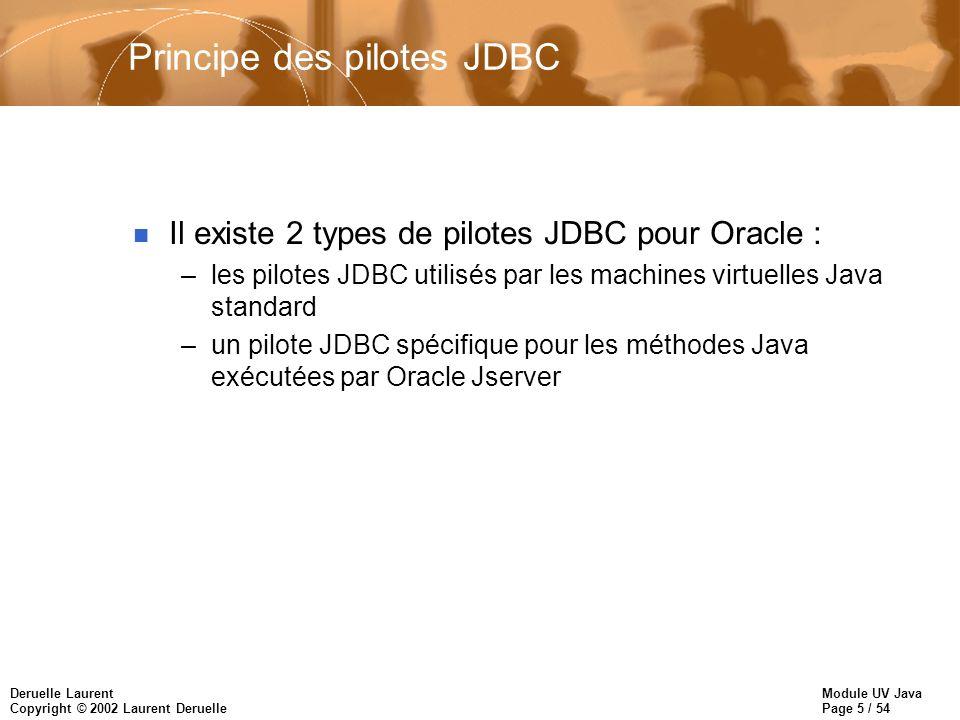 Module UV Java Page 46 / 54 Deruelle Laurent Copyright © 2002 Laurent Deruelle JDBC et Oracle 8 ORACLE_HOME = … CLASSPATH=$CLASSPATH:$ORACLE_HOME/jdbc/lib/classes111.zip import java.sql.*; Class.forName( oracle.jdbc.driver.OracleDriver ); static final url = jdbc:oracle:thin:@banane:1521:dptinfo ; conn = DiverManager.getConnection(url, scott , tiger );