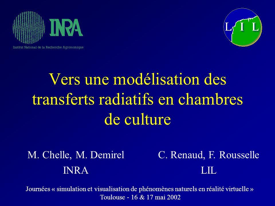 Vers une modélisation des transferts radiatifs en chambres de culture M. Chelle, M. Demirel INRA C. Renaud, F. Rousselle LIL Journées « simulation et