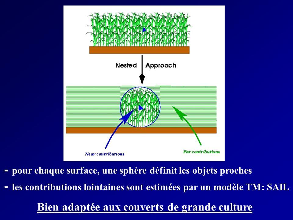 - pour chaque surface, une sphère définit les objets proches - les contributions lointaines sont estimées par un modèle TM: SAIL Bien adaptée aux couverts de grande culture