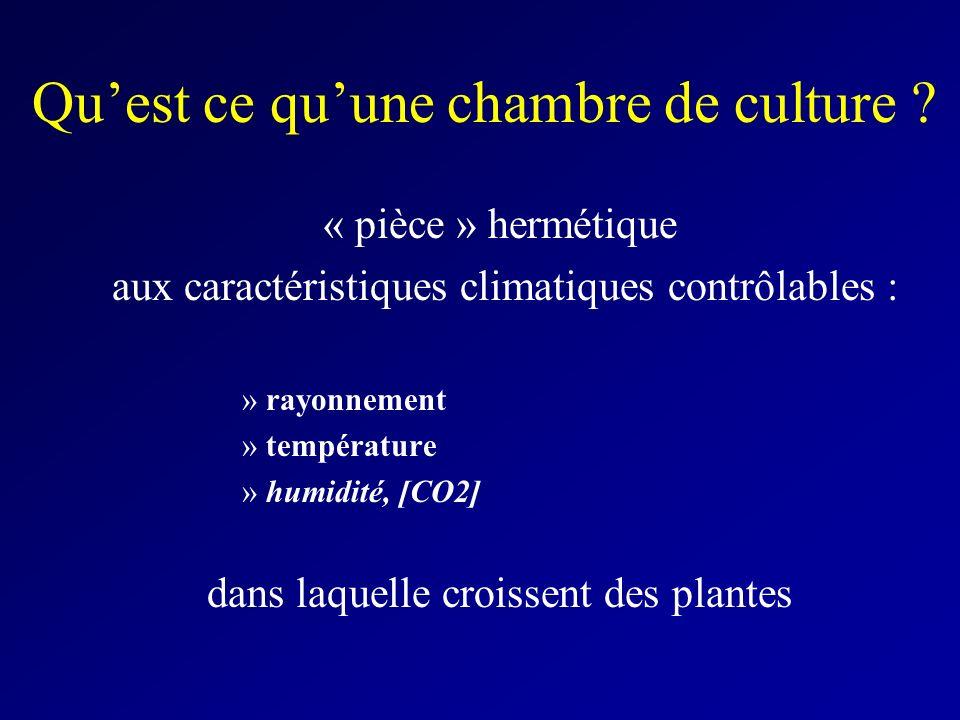 Quest ce quune chambre de culture ? « pièce » hermétique aux caractéristiques climatiques contrôlables : »rayonnement »température »humidité, [CO2] da