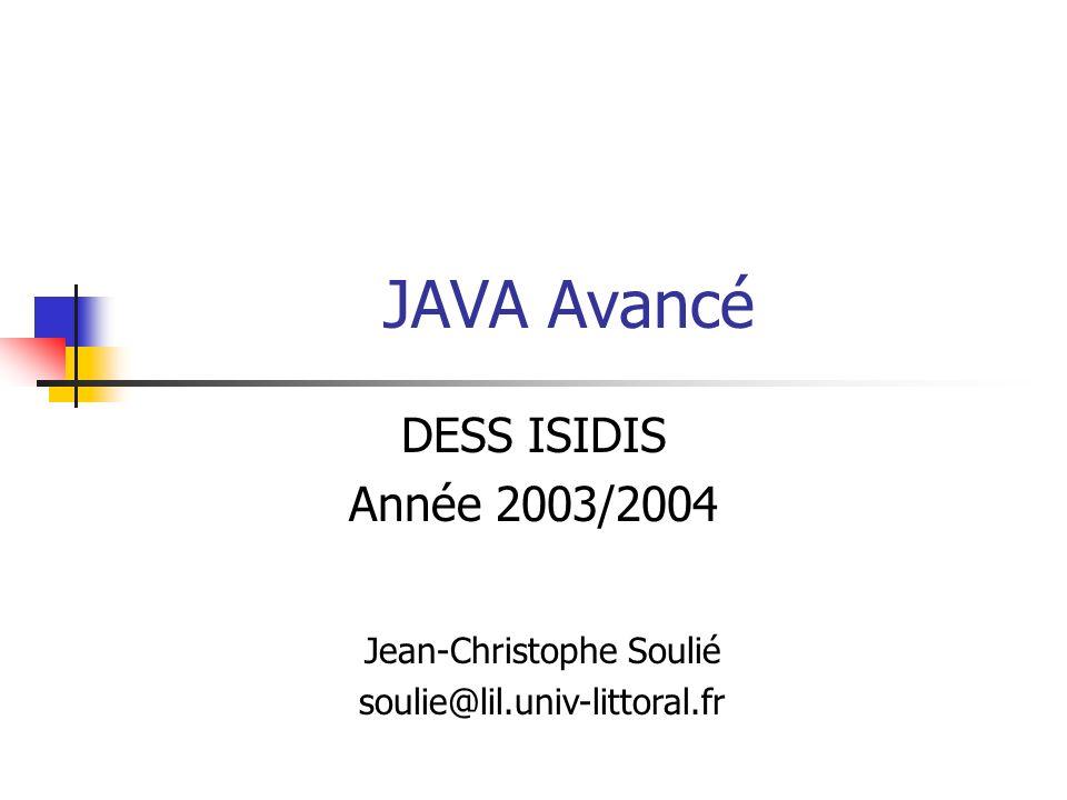 DESS ISIDIS - 2003/200422 Réflexion : un exemple Un extracteur de méthodes public class ShowMethods { public static void main(String[] args) { try { Class c = Class.forName(args[0]); Method[] m = c.getMethods(); Constructor[] ctor = c.getConstructors(); if(args.length == 1) { for (int i = 0; i < m.length; i++) System.out.println(m[i]); for (int i = 0; i < ctor.length; i++) System.out.println(ctor[i]); } else { for (int i = 0; i < m.length; i++) if(m[i].toString().indexOf(args[1])!= -1) System.out.println(m[i]); for (int i = 0; i < ctor.length; i++) if(ctor[i].toString().indexOf(args[1])!= -1) System.out.println(ctor[i]); } } catch(ClassNotFoundException e) { System.err.println( Classe non trouvée : + e); } } }
