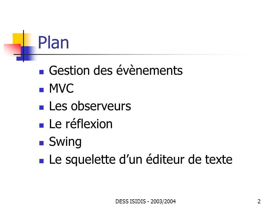 DESS ISIDIS - 2003/200433 JTabbedPane : exemple (1) Pour naviguer ajouter, enlever les feuilles choisir la position des onglets De plus un message affiche le numéro de longlet, à chaque changement