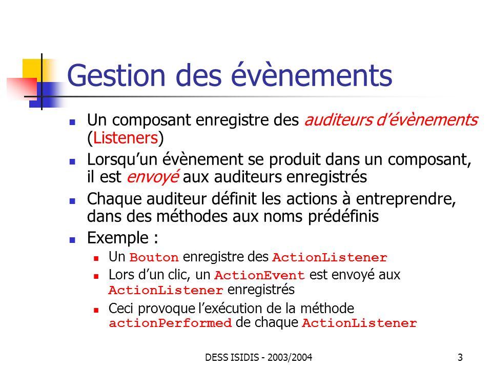DESS ISIDIS - 2003/20044 Exemple Une classe de boutons class MonBouton extends Button { int incr; MonBouton(String title, int incr) { super(title); this.incr = incr; } int getIncr() { return incr} } Une classe détiquettes auditrices class ListenerLabel extends Label implements ActionListener{ ListenerLabel() { super( 0 , Label.CENTER);} public void actionPerformed(ActionEvent evt) { MonBouton b = (MonBouton) evt.getSource(); int c = Integer.parseInt(getText()); c += b.getIncr(); setText(Integer.toString(c)); }