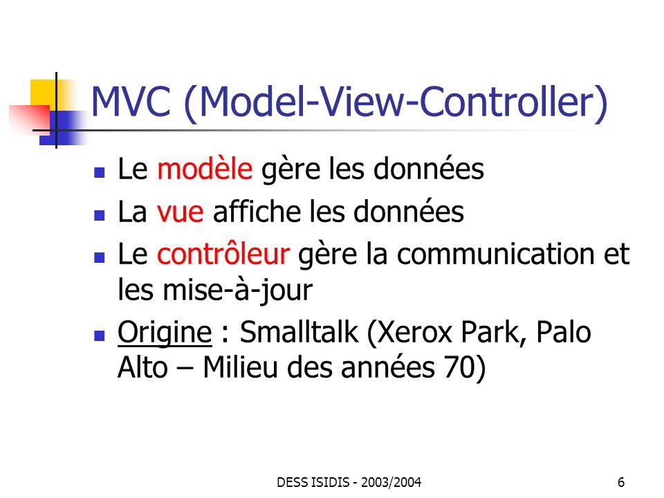 DESS ISIDIS - 2003/200457 JTree : exemple(2) Cest addClass(Class c) qui fait linsertion class ClassTreeFrame extends JFrame implements ActionListener { private DefaultMutableTreeNode root; private DefaultTreeModel model; private JTree tree; private JTextField textField; public ClassTreeFrame() { setTitle( ClassTree ); root = new DefaultMutableTreeNode(Object.class); model = new DefaultTreeModel(root); tree = new JTree(model); addClass( getClass()); getContentPane().add(new JScrollPane(tree), Center ); textField = new JTextField(); textField.addActionListener(this); getContentPane().add(textField, South ); }...