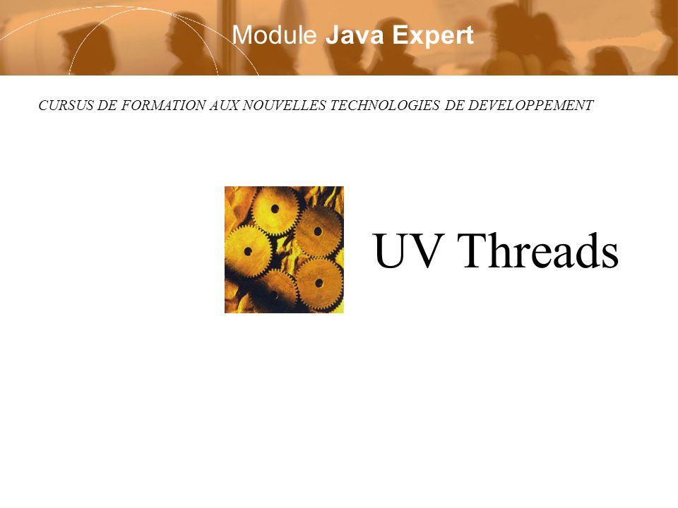 Module UV Java Page 12 / 47 Deruelle Laurent Copyright © 2002 Laurent Deruelle Diagrame de Création Thread Thread t = new BThread(); t.start(); Continuer(); Objet A BThread() { } void start() { // creation thread } void run() { FaireTravail(); } Objet BThread (extends Thread)