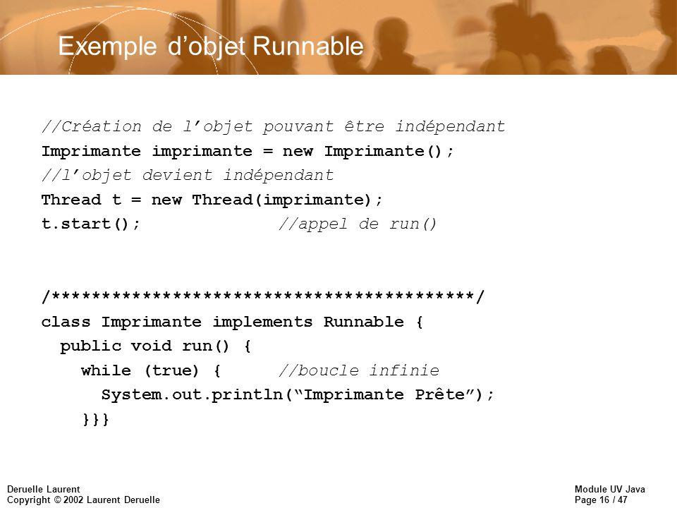 Module UV Java Page 16 / 47 Deruelle Laurent Copyright © 2002 Laurent Deruelle Exemple dobjet Runnable //Création de lobjet pouvant être indépendant I