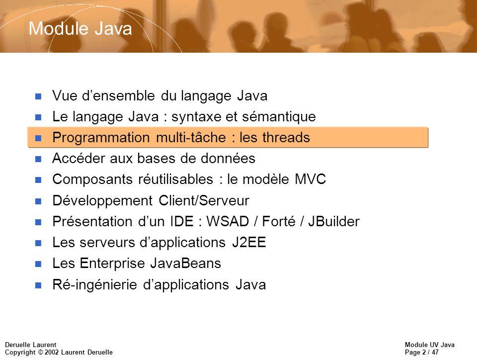 Module UV Java Page 2 / 47 Deruelle Laurent Copyright © 2002 Laurent Deruelle Module Java n Vue densemble du langage Java n Le langage Java : syntaxe et sémantique n Programmation multi-tâche : les threads n Accéder aux bases de données n Composants réutilisables : le modèle MVC n Développement Client/Serveur n Présentation dun IDE : WSAD / Forté / JBuilder n Les serveurs dapplications J2EE n Les Enterprise JavaBeans n Ré-ingénierie dapplications Java