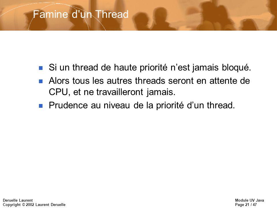 Module UV Java Page 21 / 47 Deruelle Laurent Copyright © 2002 Laurent Deruelle Famine dun Thread n Si un thread de haute priorité nest jamais bloqué.