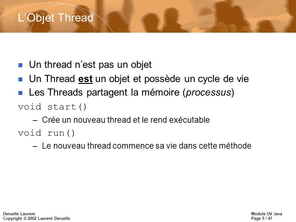 Module UV Java Page 16 / 47 Deruelle Laurent Copyright © 2002 Laurent Deruelle Exemple dobjet Runnable //Création de lobjet pouvant être indépendant Imprimante imprimante = new Imprimante(); //lobjet devient indépendant Thread t = new Thread(imprimante); t.start();//appel de run() /******************************************/ class Imprimante implements Runnable { public void run() { while (true) { //boucle infinie System.out.println(Imprimante Prête); }}}
