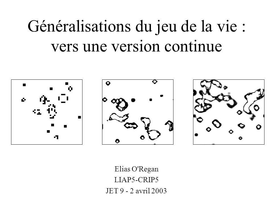 Présentation Les travaux menés sur les automates cellulaires en vie artificielle ont en général pour but d étudier les systèmes minimaux faisant apparaître certains comportements complexes (déplacement, duplication, auto- organisation, universalité).