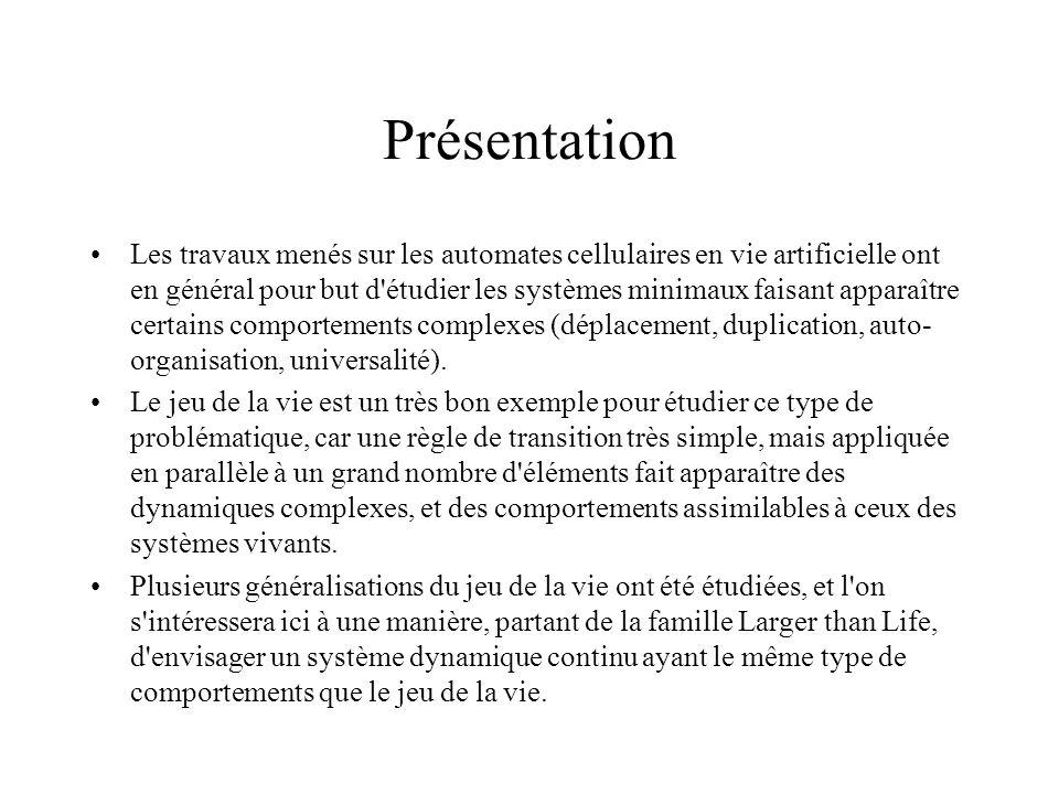 du Jeu de la Vie à Larger than Life Le point de départ : le jeu de la vie de Conway (1970).