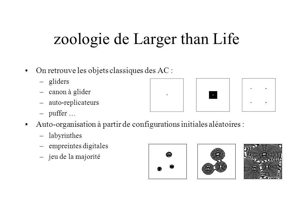 zoologie de Larger than Life On retrouve les objets classiques des AC : –gliders –canon à glider –auto-replicateurs –puffer … Auto-organisation à part