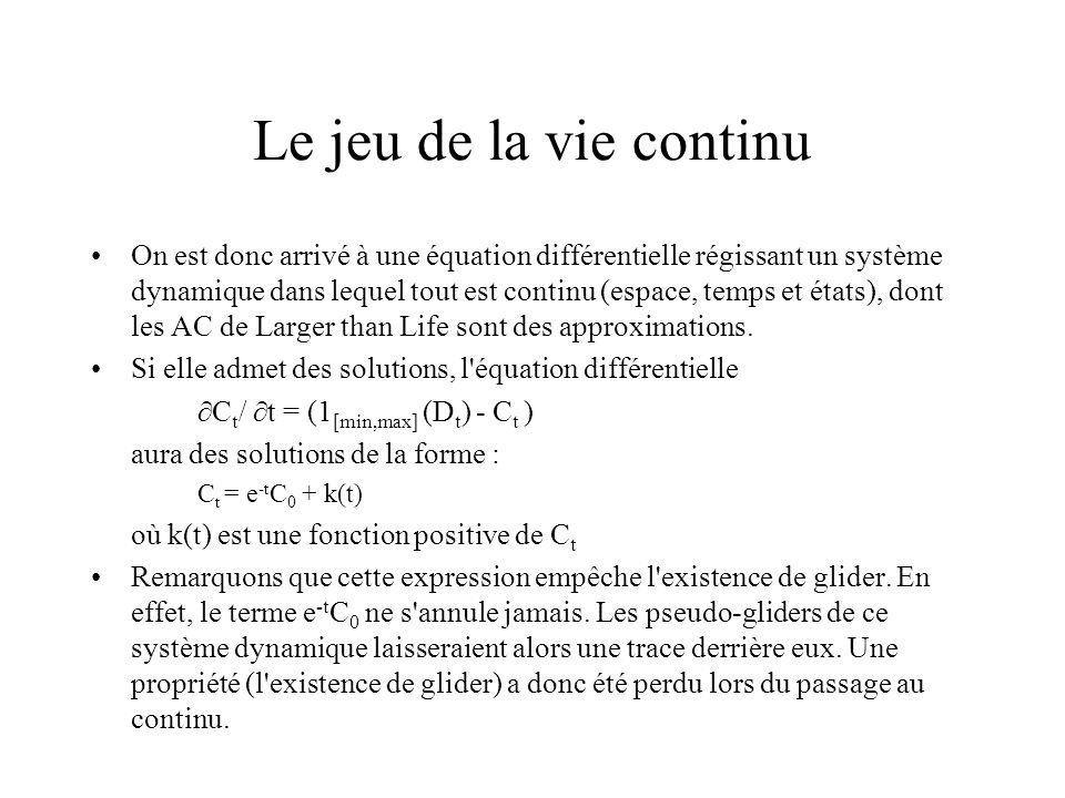 Le jeu de la vie continu On est donc arrivé à une équation différentielle régissant un système dynamique dans lequel tout est continu (espace, temps e