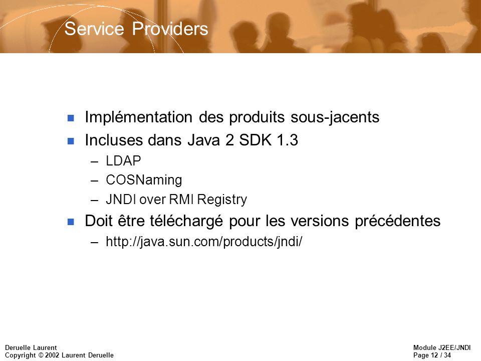 Module J2EE/JNDI Page 12 / 34 Deruelle Laurent Copyright © 2002 Laurent Deruelle Service Providers n Implémentation des produits sous-jacents n Inclus