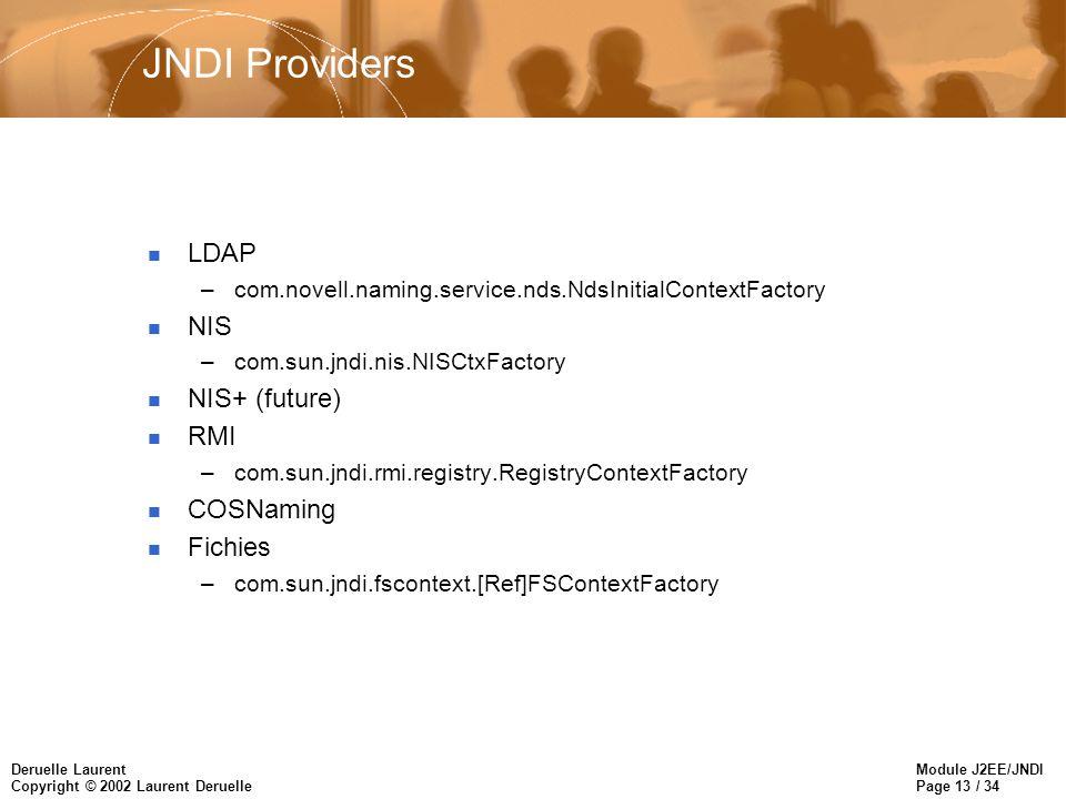 Module J2EE/JNDI Page 13 / 34 Deruelle Laurent Copyright © 2002 Laurent Deruelle JNDI Providers n LDAP –com.novell.naming.service.nds.NdsInitialContextFactory n NIS –com.sun.jndi.nis.NISCtxFactory n NIS+ (future) n RMI –com.sun.jndi.rmi.registry.RegistryContextFactory n COSNaming n Fichies –com.sun.jndi.fscontext.[Ref]FSContextFactory