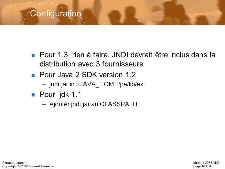 Module J2EE/JNDI Page 14 / 34 Deruelle Laurent Copyright © 2002 Laurent Deruelle Configuration n Pour 1.3, rien à faire. JNDI devrait être inclus dans