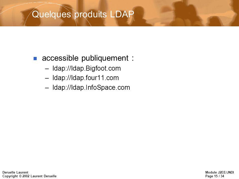 Module J2EE/JNDI Page 15 / 34 Deruelle Laurent Copyright © 2002 Laurent Deruelle Quelques produits LDAP n accessible publiquement : –ldap://ldap.Bigfo