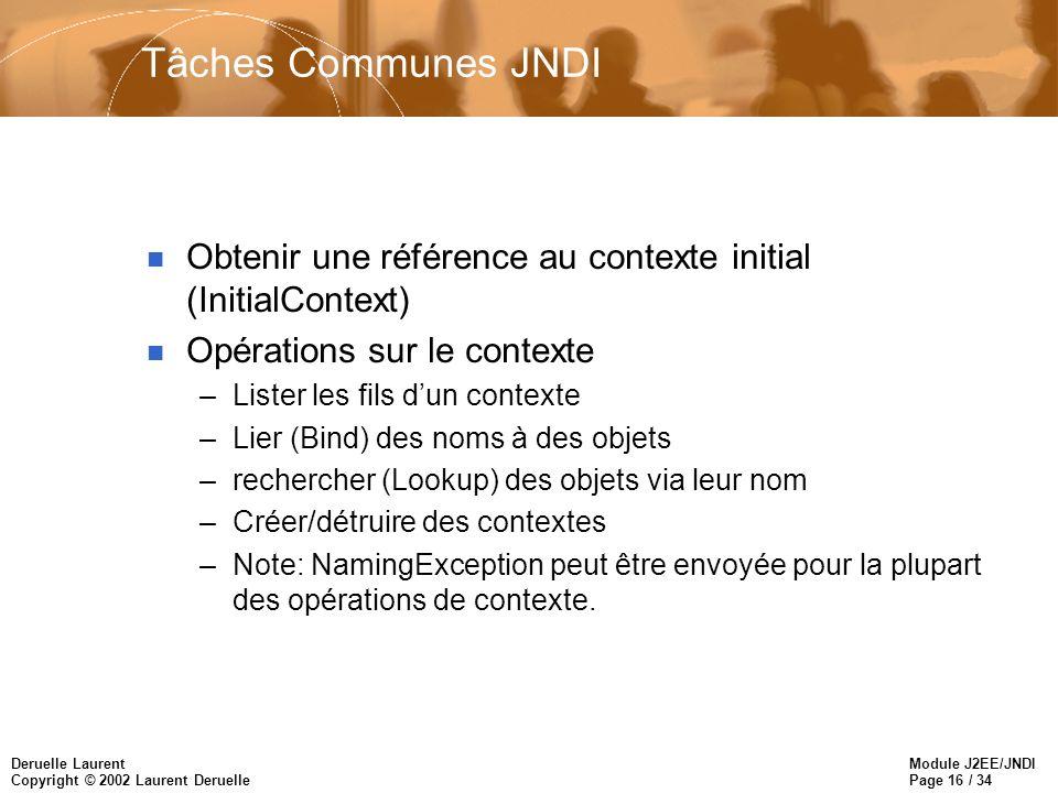 Module J2EE/JNDI Page 16 / 34 Deruelle Laurent Copyright © 2002 Laurent Deruelle Tâches Communes JNDI n Obtenir une référence au contexte initial (Ini