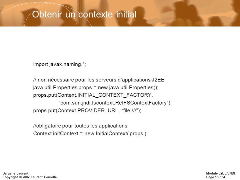 Module J2EE/JNDI Page 18 / 34 Deruelle Laurent Copyright © 2002 Laurent Deruelle Obtenir un contexte initial import javax.naming.*; // non nécessaire