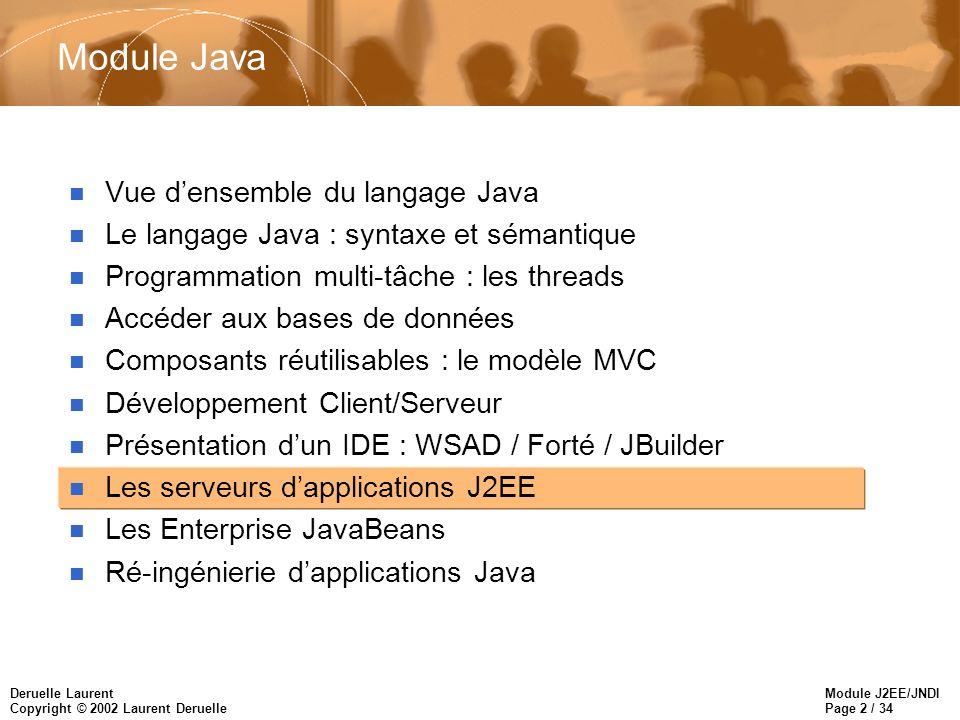 Module J2EE/JNDI Page 33 / 34 Deruelle Laurent Copyright © 2002 Laurent Deruelle JNDI et les applications J2EE n InitialContext –fourni par le Container –accédé par un composant en utilisant le constructeur par défaut.