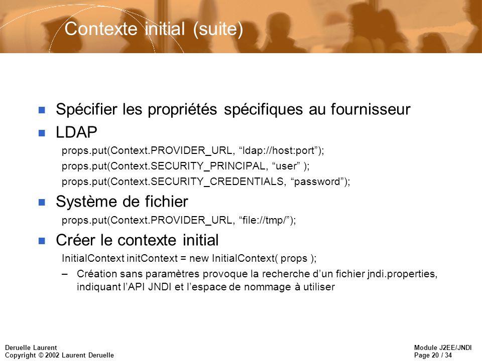 Module J2EE/JNDI Page 20 / 34 Deruelle Laurent Copyright © 2002 Laurent Deruelle Contexte initial (suite) n Spécifier les propriétés spécifiques au fo