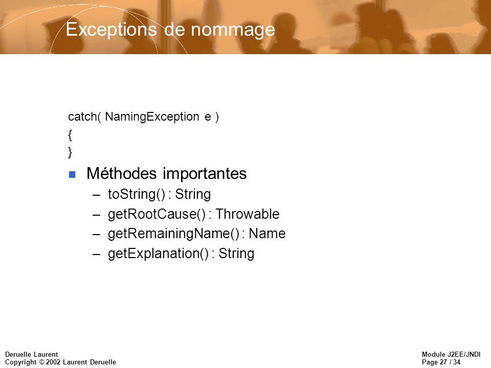 Module J2EE/JNDI Page 27 / 34 Deruelle Laurent Copyright © 2002 Laurent Deruelle Exceptions de nommage catch( NamingException e ) { } n Méthodes impor