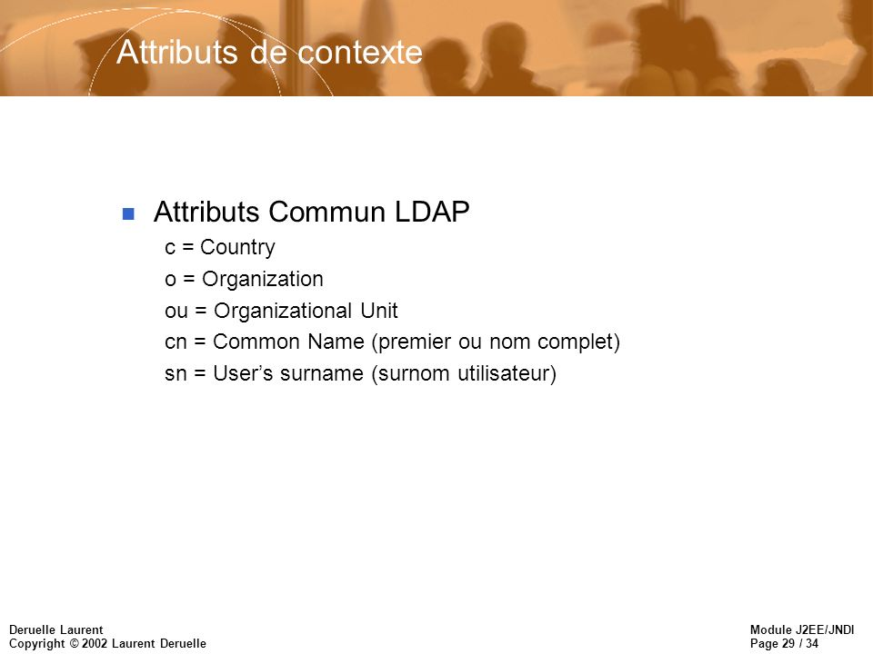 Module J2EE/JNDI Page 29 / 34 Deruelle Laurent Copyright © 2002 Laurent Deruelle Attributs de contexte n Attributs Commun LDAP c = Country o = Organization ou = Organizational Unit cn = Common Name (premier ou nom complet) sn = Users surname (surnom utilisateur)