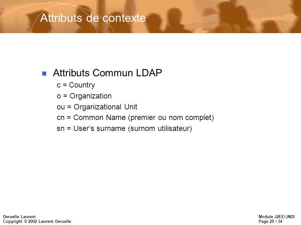 Module J2EE/JNDI Page 29 / 34 Deruelle Laurent Copyright © 2002 Laurent Deruelle Attributs de contexte n Attributs Commun LDAP c = Country o = Organiz